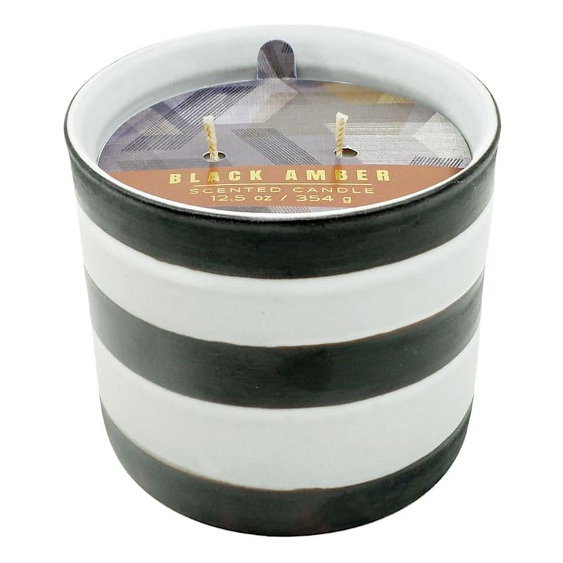 Black Amber Ceramic Candle,12.5oz