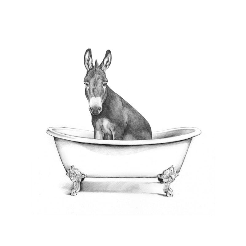 12X16 Farm Donkey In Bath Tub Canvas Wall Art