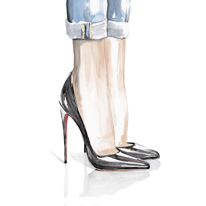 12X16 Black Heels Fashion Jeans Canvas Wall Art