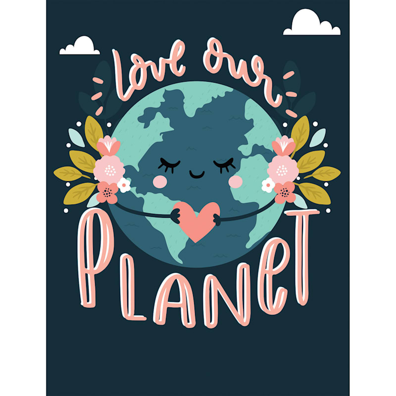 12X16 Love Our Planet Floral Earth Canvas Wall Art