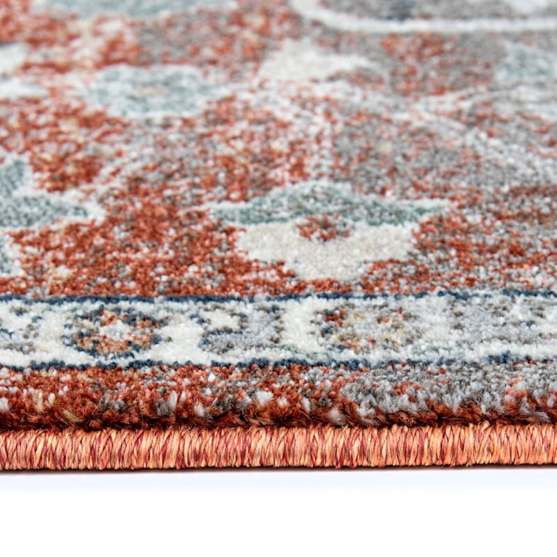 (B638) Edwina Spice & Blue Woven Area Rug, 5x7