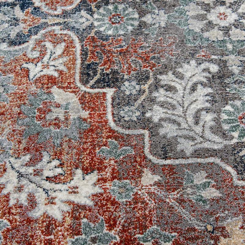 (B638) Edwina Spice & Blue Woven Area Rug 8X11