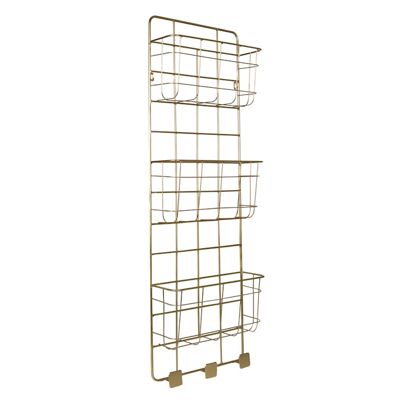 3 Large Baskets 3 Knob Hooks Metal Wire Construction Fixed To Wall