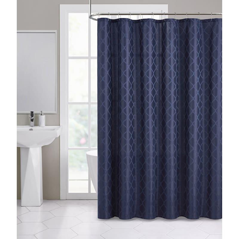 Darien Navy Jacquard Shower Curtain 72X72