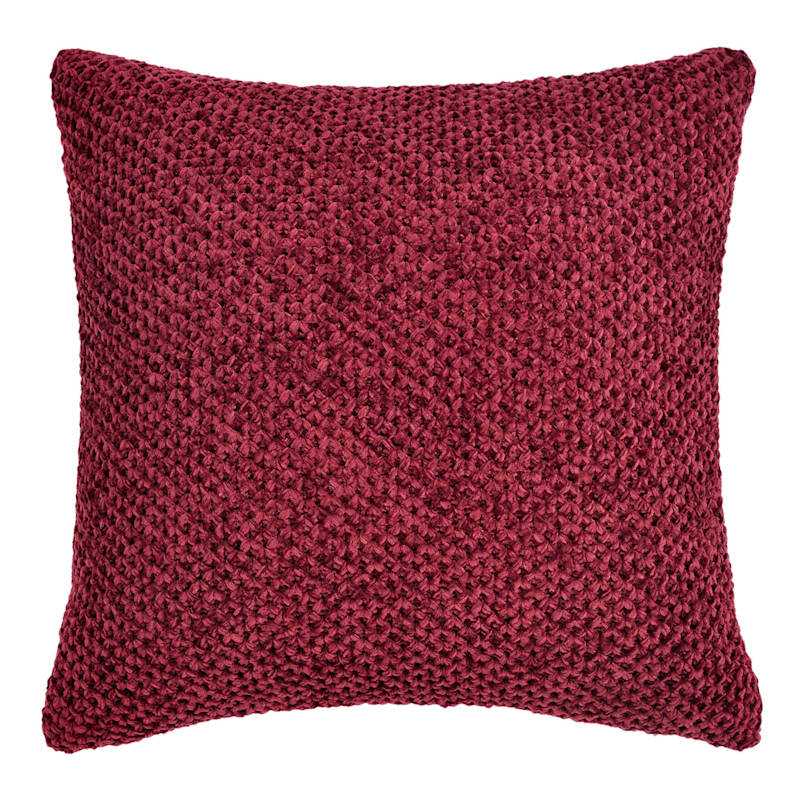 Red Chenille Braided Pillow 18X18