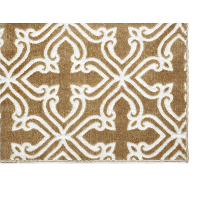 Trellis Polyester Gold & Ivory Accent Rug, 2x4
