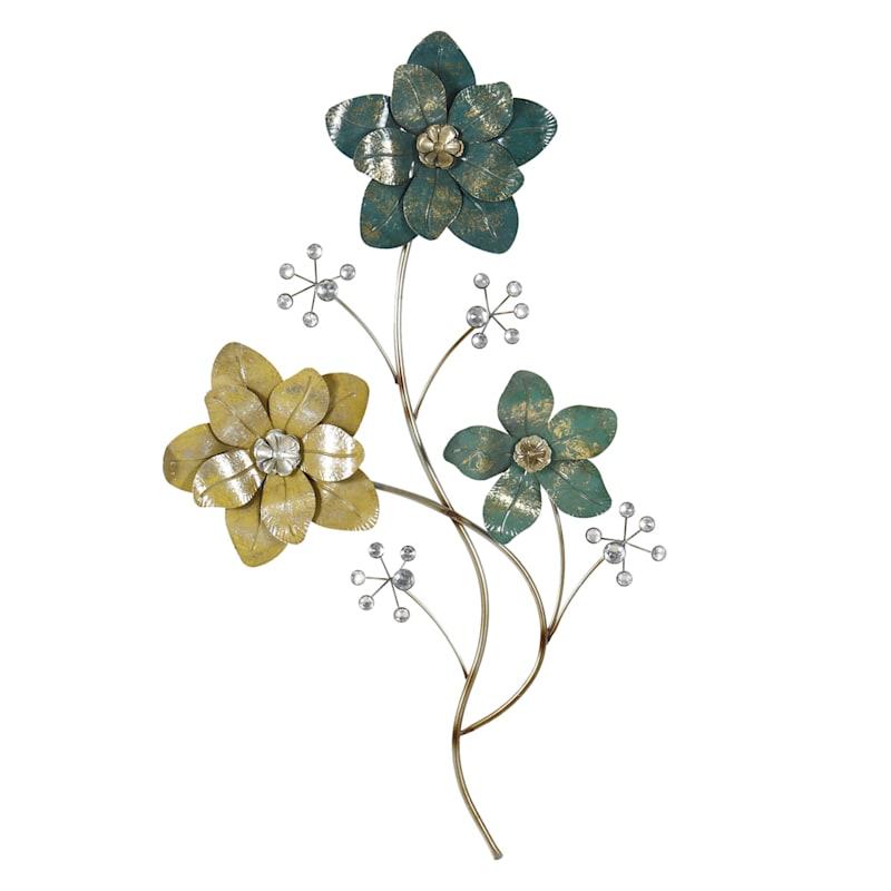 20X32 Metal Green 3 Flowers Wall Art