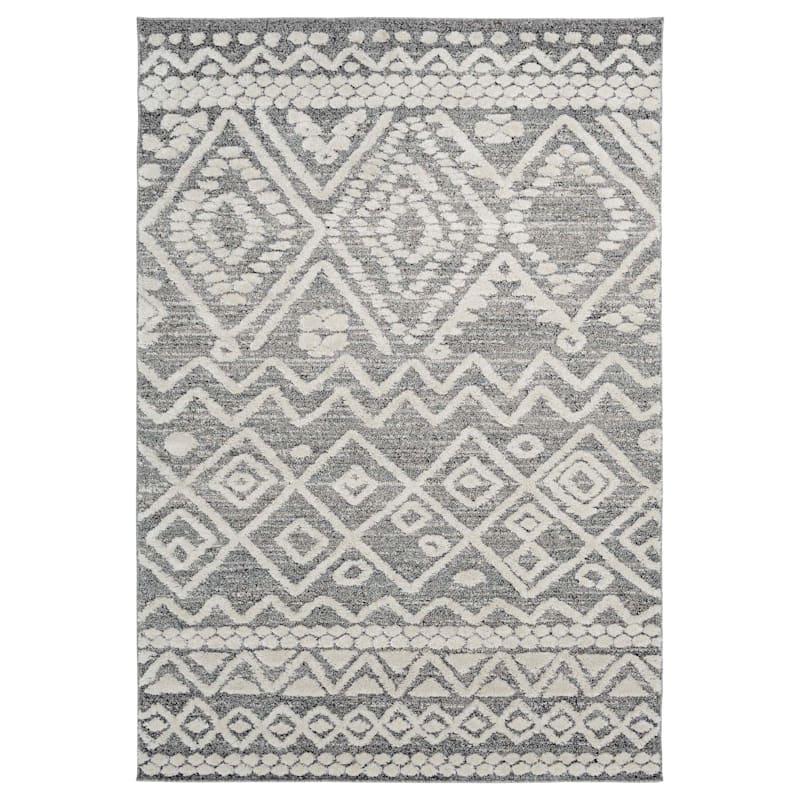 (B684) House Tribal Grey Woven Area Rug, 8x10