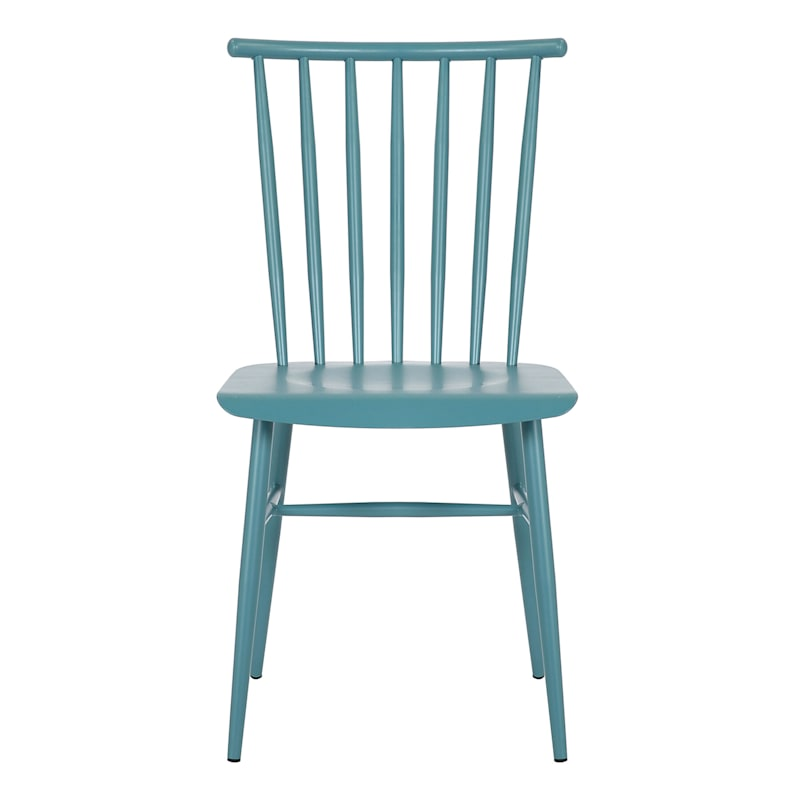 Teal Spindle Metal Dining Chair