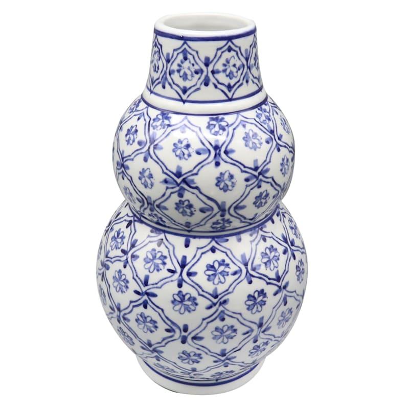 "Grace Mitchell Ceramic Blue Floral Vase, 10"""