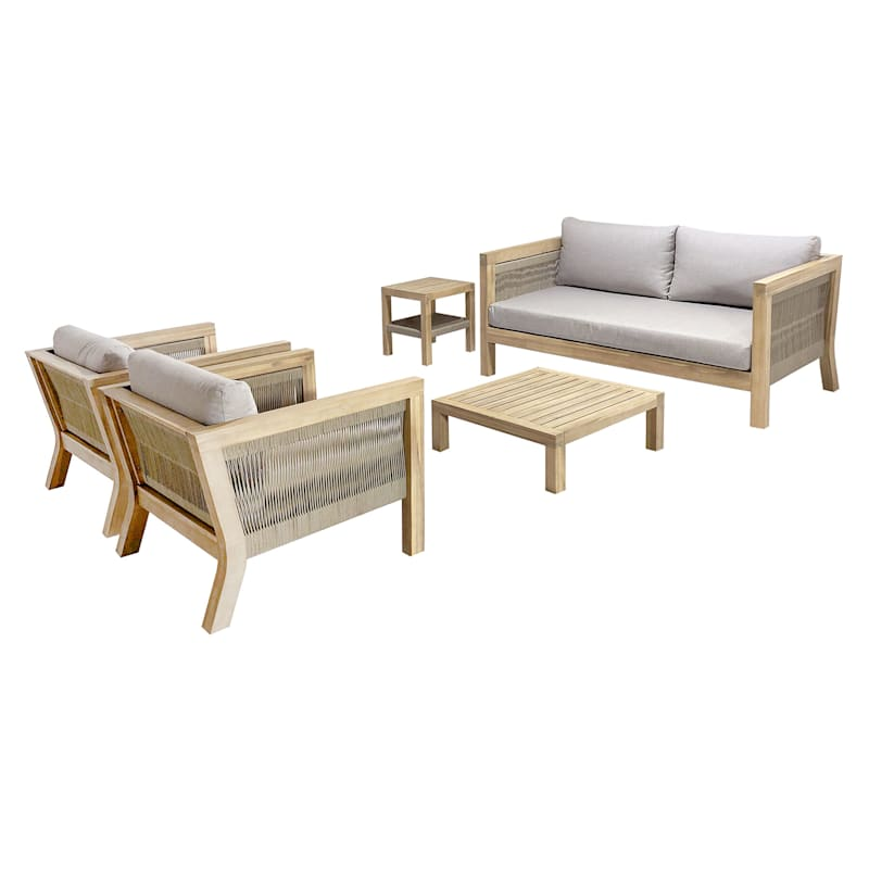 Park City Blonde Acacia Wood & Rope Accent Outdoor Sofa