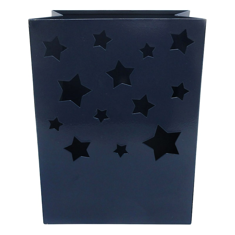 Metal Luminary/Cut Out Star Design/Built In Led Candle