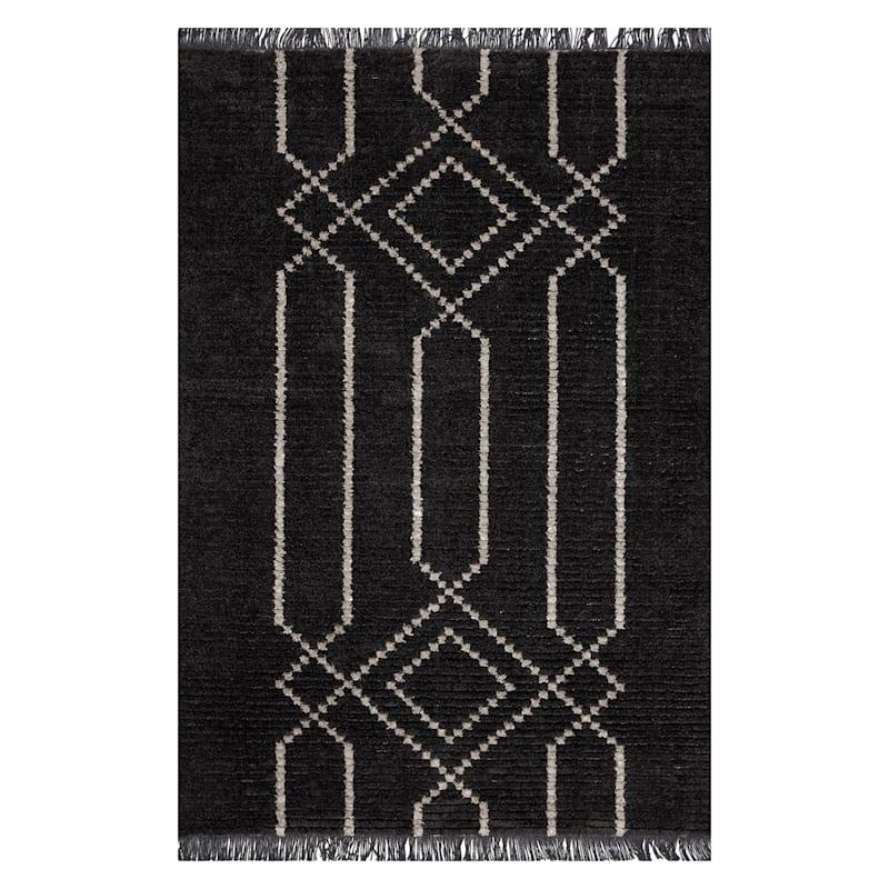 (C164) Elizabeth Dark Grey & Ivory Area Rug, 5x8