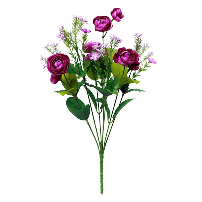 18IN MIXED FLOWER BUSH WHT
