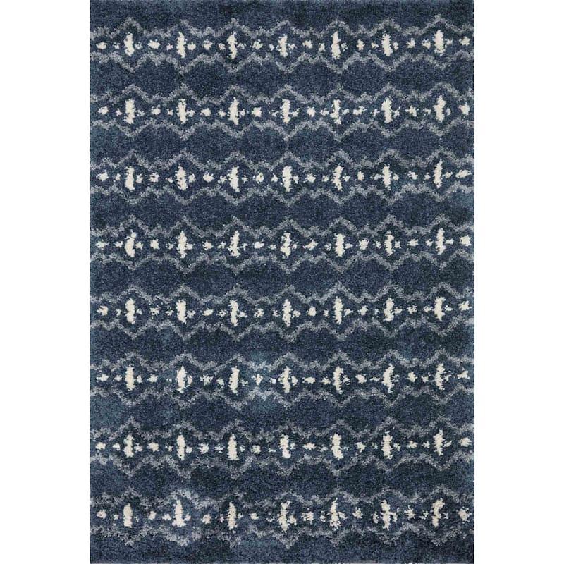 Tracey Boyd (C165) Quinn Geometric Blue Shag Area Rug, 8x10