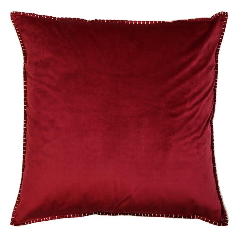 "Harry Velvet Red Metallic Whipstitch Throw Pillow, 24"""