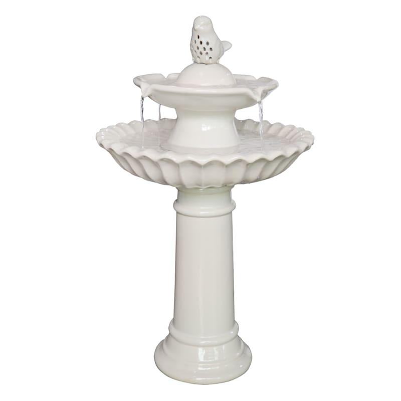 Grace Mitchell 2-Tier Ceramic Bird Fountain