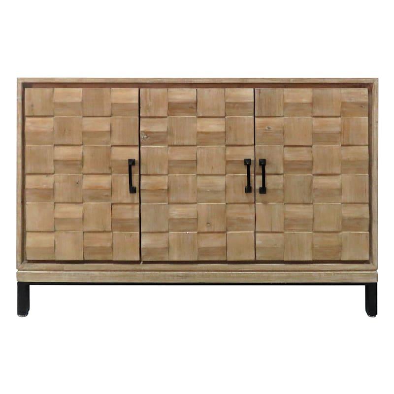 Natural Textured 3 Door Wood Cabinet