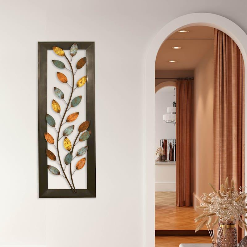 12X36 Multi Color Leaves Panel Wall Decor