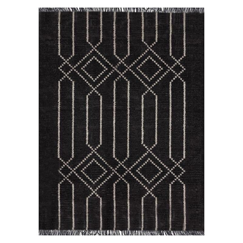 (C164) Elizabeth Dark Grey & Ivory Area Rug, 8x10