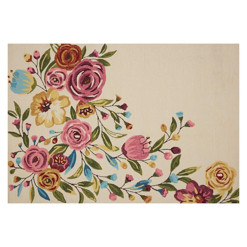 (A467) Summerton Pink Floral Hooked Area Rug, 6x9