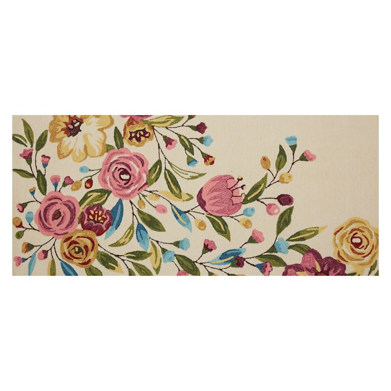 (A467) Summerton Pink Floral Hooked Runner, 2x5