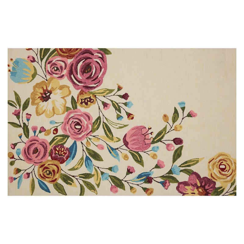 (A467) Summerton Pink Floral Hooked Area Rug, 5x7