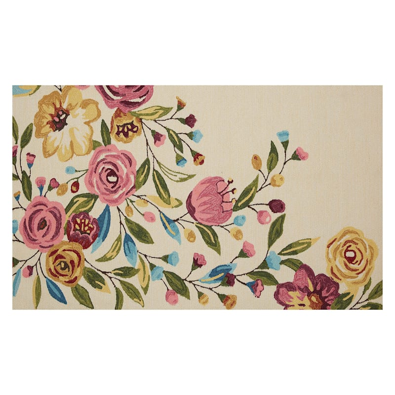 (A467) Summerton Pink Floral Hooked Area Rug, 3x5