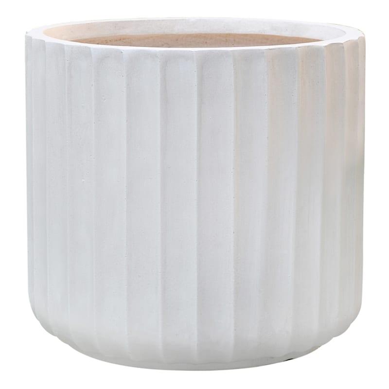 Douglass Short 16.5in. White Fiber Clay Planter