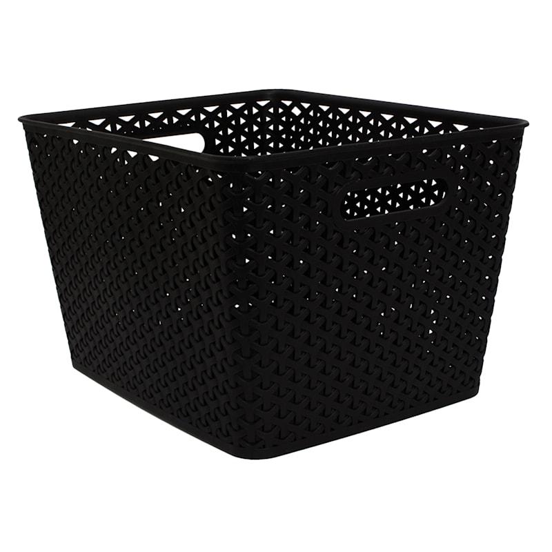13.75X11X9 Weave Bin Black