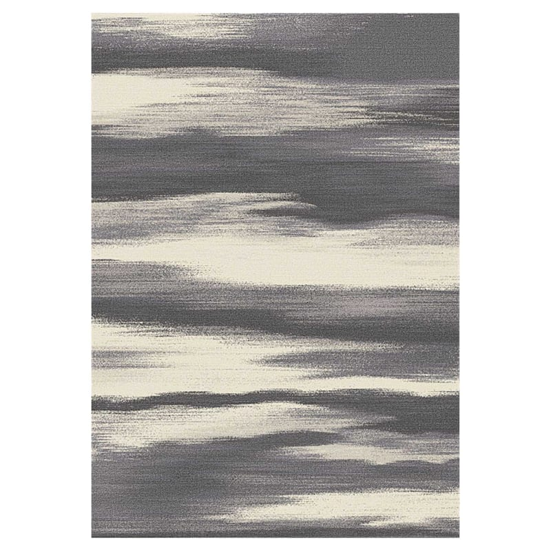 (D340) Gloucester Windswept Grey Printed Area Rug With Non-Slip Back, 5x7