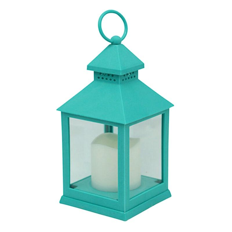 4X10 Weatherproof Plastic Lantern/Led Candle Turquoise