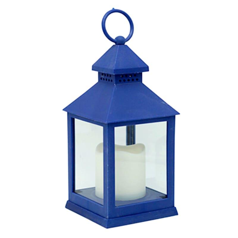 4X10 Weatherproof Plastic Lantern/Led Candle Blue