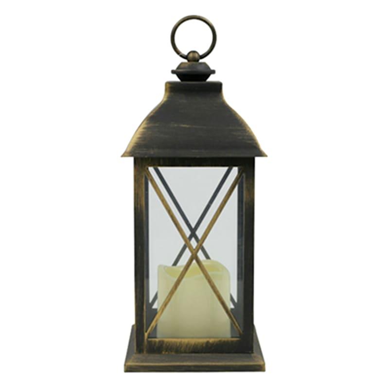 5X12 Plastic Lantern Weatherproof W/Led Candle Crisscross Timer Black/Gold