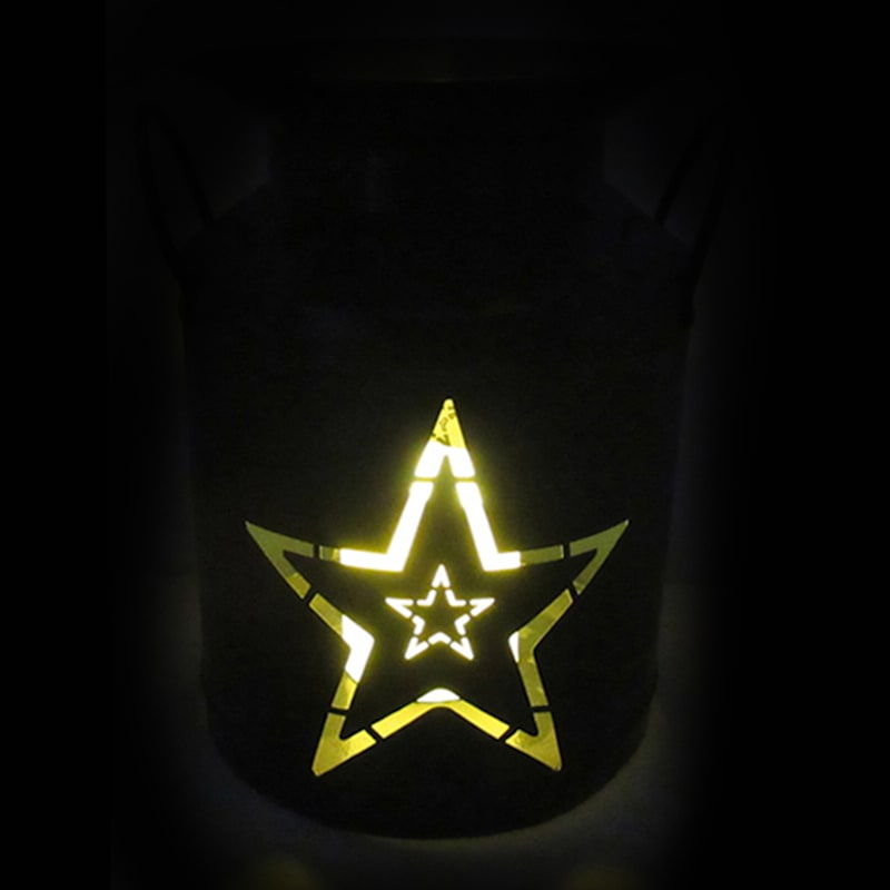 Metal Lantern/Cut Out Star Design/Built In Led Candle