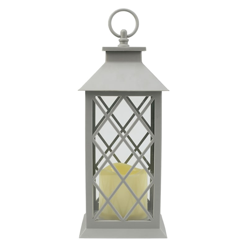 5X12 Plastic Lantern Weatherproof W/Led Candle Diamond Pane Timer Grey