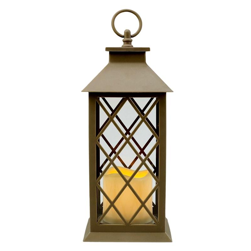 5X12 Plastic Lantern Weatherproof W/Led Candle Diamond Pane Timer Taupe