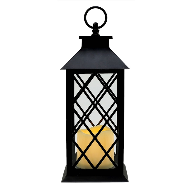 5X12 Plastic Lantern Weatherproof W/Led Candle Diamond Pane Timer Black