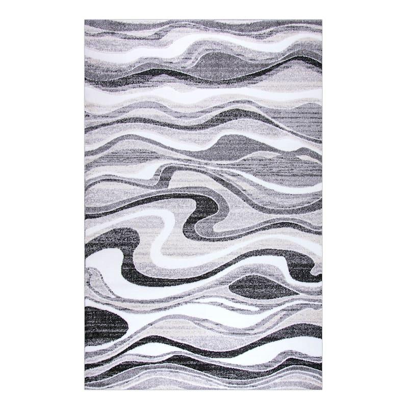 (B511) Soho Grey & Cream Waves Area Rug, 7x9