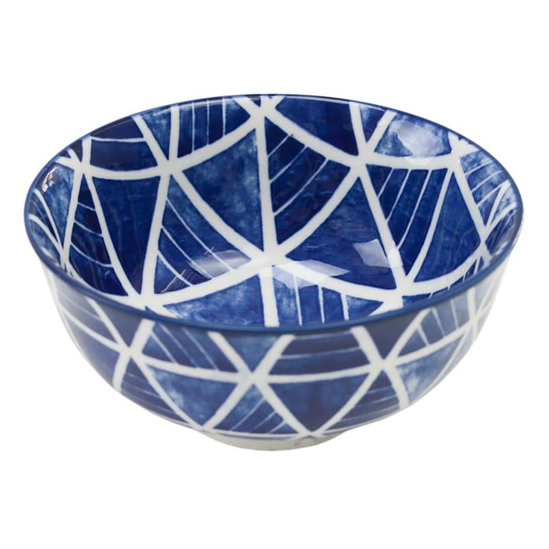8oz Porcelain. Blue/White Pyramid Pattern Bowl