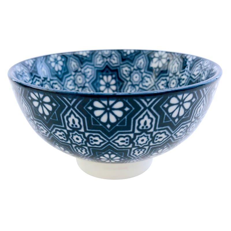 Porcelain 8oz Blue/White Geo Floral Pattern Bowl
