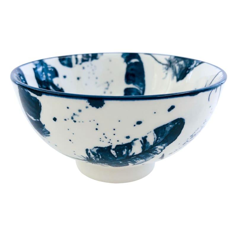 8oz Porcelain Bowl Blue/White Feather Pattern