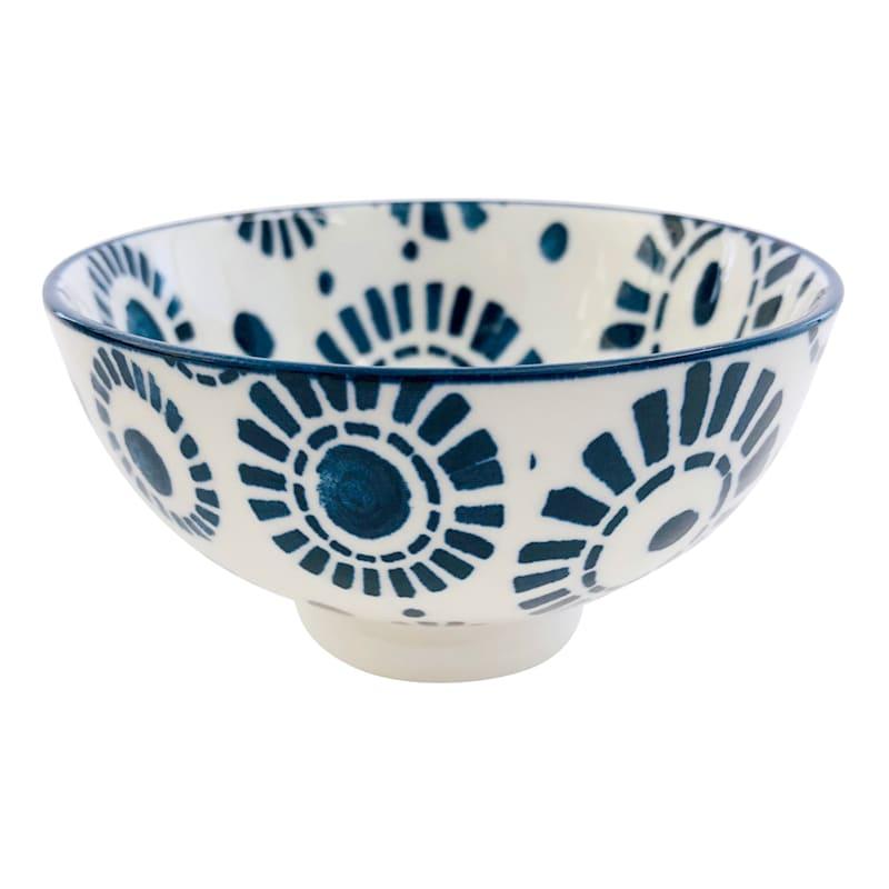 Porcelain 8oz Spiral Pattern Blue/White Bowl