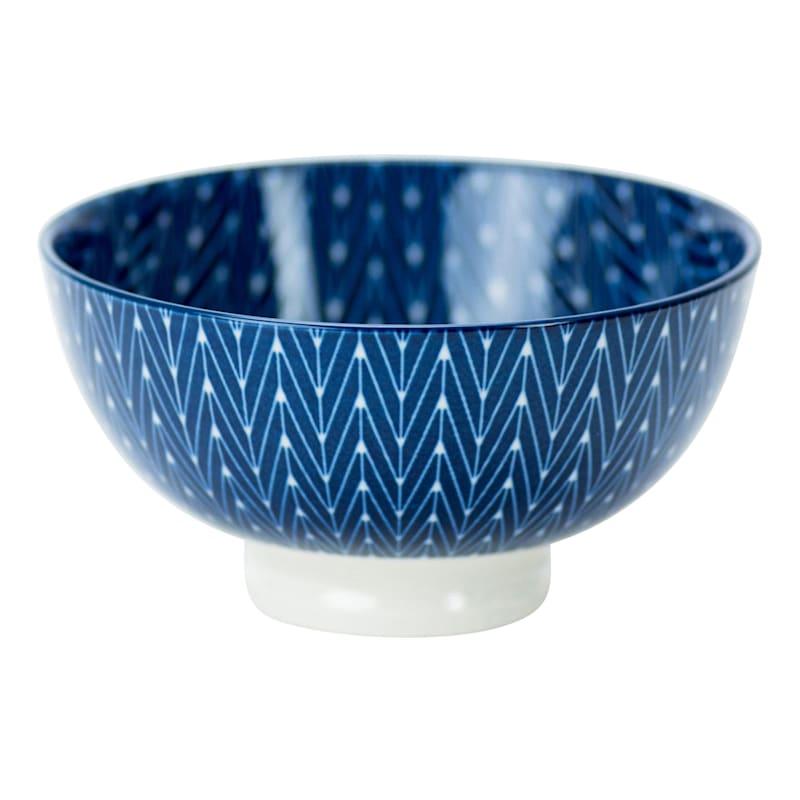 8oz Porcelain Blue/White Herringbone Pattern Bowl