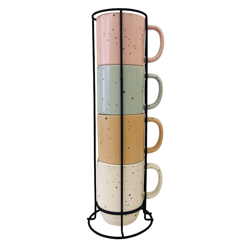 14oz Stacked Set Of Four Pastel Mugs Metal Rack/Assorted Colors