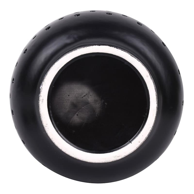 7.1in. Ceramic Solar Lantern Matte Black Battery Included
