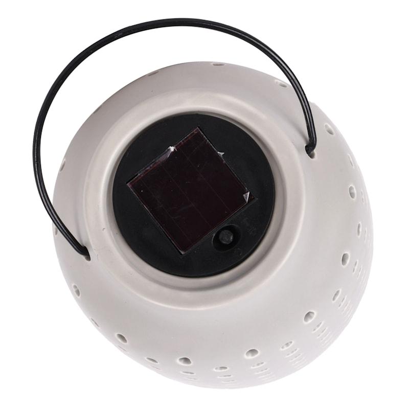 5.7in. Ceramic Solar Lantern Matte Grey Battery Included