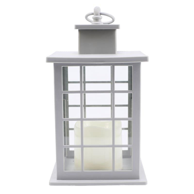 6X10 Plastic Lantern Weatherproof W/Led Candle Multipaned Timer Grey