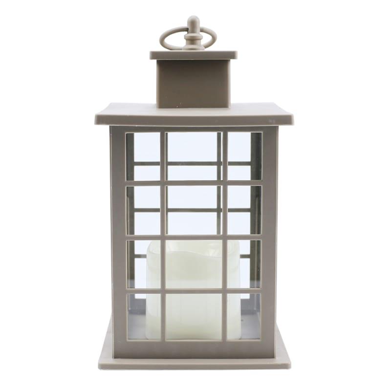 6X10 Plastic Lantern Weatherproof W/Led Candle Multipaned Timer Taupe