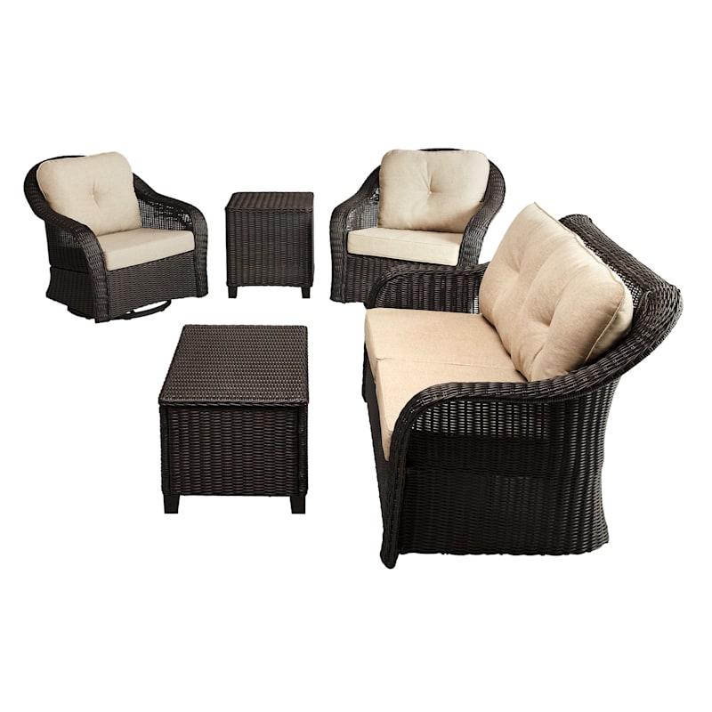 Glendale Brown Wicker Outdoor Swivel, Outdoor Furniture Swivel Rocking Chairs